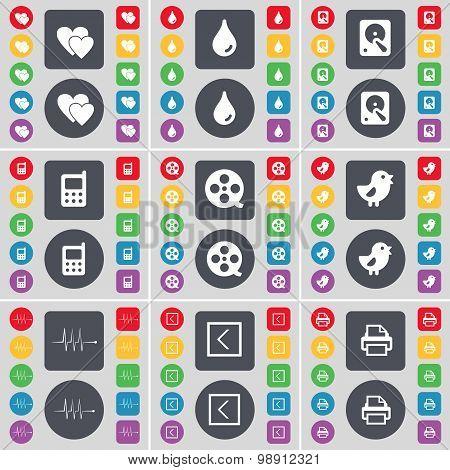 Heart, Drop, Hard Drive, Mobile Phone, Videotape, Bird, Pulse, Arrow Left, Printer Icon Symbol. A La
