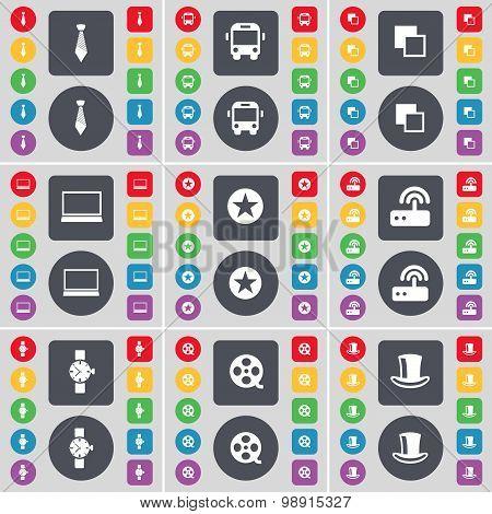 Tie, Bus, Copy, Laptop, Star, Router, Wrist Watch, Videotape, Silk Hat Icon Symbol. A Large Set Of F