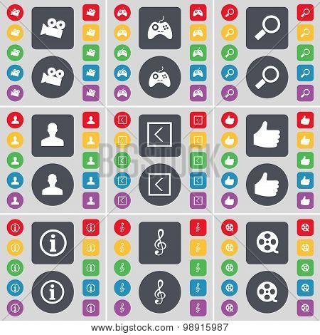 Film Camera, Gamepad, Magnifying Glass, Avatar, Arrow Left, Like, Information, Clef, Videotape Icon