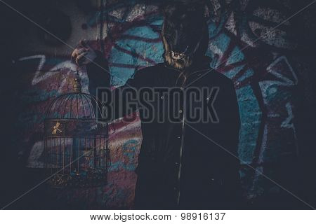 Ugly, man with mask wolf and lamp with colored smoke poster