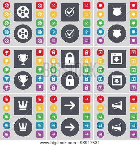 Videotape, Tick, Police Badge, Cup, Lock, Window, Crown, Arrow Right, Megaphone Icon Symbol. A Large