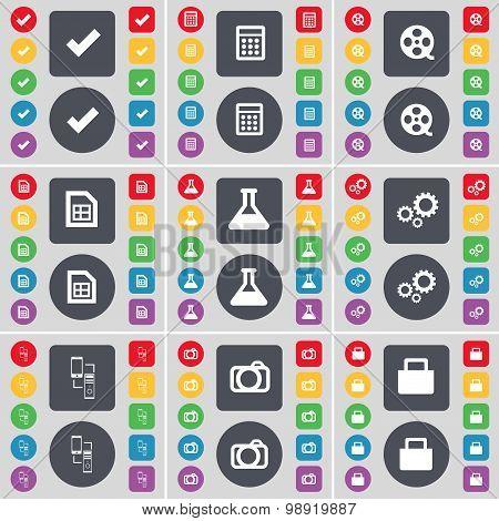 Tick, Calculator, Videotape, File, Flask, Gear, Connection, Camera, Lock Icon Symbol. A Large Set Of
