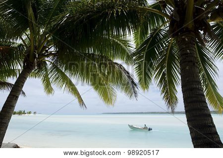 Fisherman In Fishing Boat On Aitutaki Lagoon Cook Islands