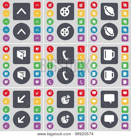 Arrow Up, Videotape, Planet, Wallet, Receiver, Cup, Deploying Screen, Pizza, Chat Bubble Icon Symbol