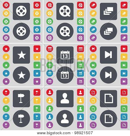 Videotape, Gallery, Star, Calendar, Media Skip, Signpost, Avatar, File Icon Symbol. A Large Set Of F