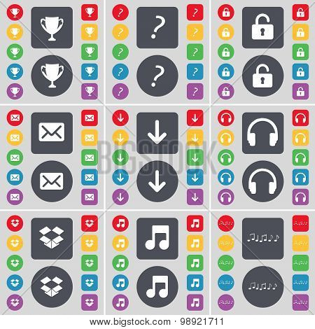 Cup, Question Mark, Lock, Message, Arrow Down, Headphones, Dropbox, Note Icon Symbol. A Large Set Of