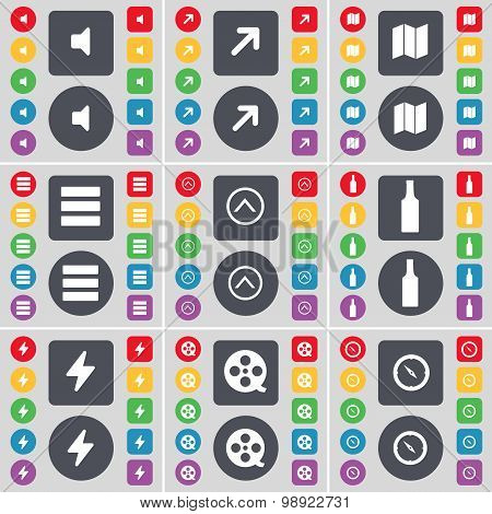 Sound, Full Screen, Map, App, Arrow Up, Bottle, Flash, Videotape, Compass Icon Symbol. A Large Set O