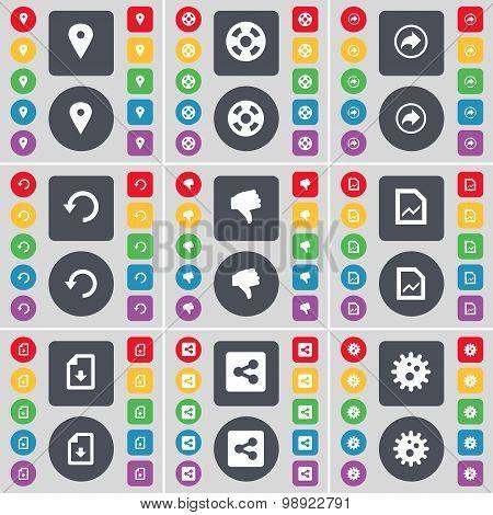 Checkpoint, Videotape, Back, Reload, Dislike, Graph File, Download File, Share, Gear Icon Symbol. A