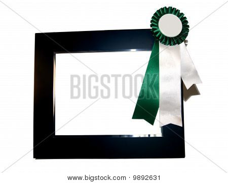 Isolated Empty Frame With Green Blank Ribbon Award