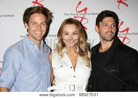 LOS ANGELES - AUG 15:  Lachlan Buchanan, Hunter King, Robert Adamson at the