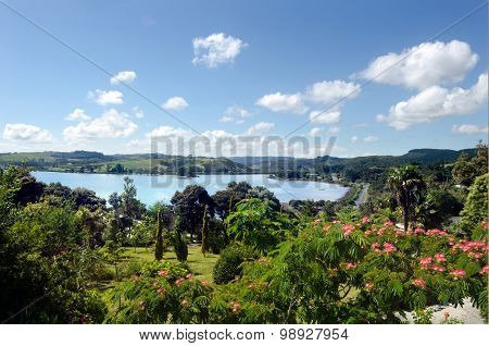 Aerial landscape view of Mangonui harbor at Doubtless Bay in Northland New Zealand.