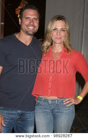 LOS ANGELES - AUG 15:  Joshua Morrow, Kelly Sullivan at the