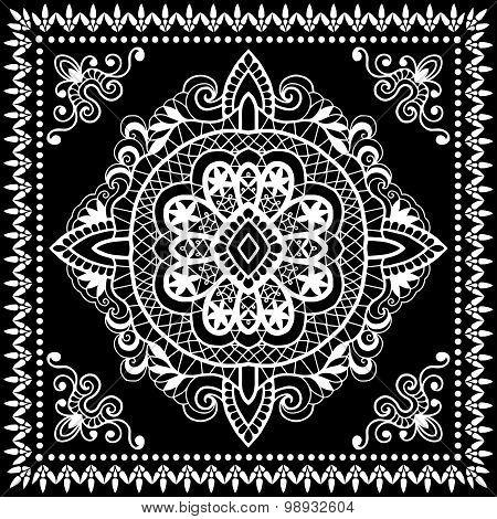 Black Bandana Print, silk neck scarf or kerchief square pattern design style for print on fabric, ve