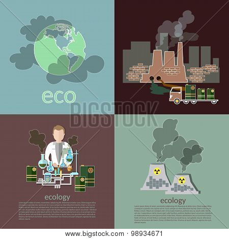 Pollution Ecology Smog Risk Plants Smoke Recovery Garbage Waste Vector Icons
