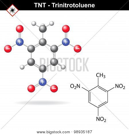 Trinitrotoluene - tnt explosive agent, structural chemical formula and model, 2d and 3d vector isolated on white background, eps 8 poster