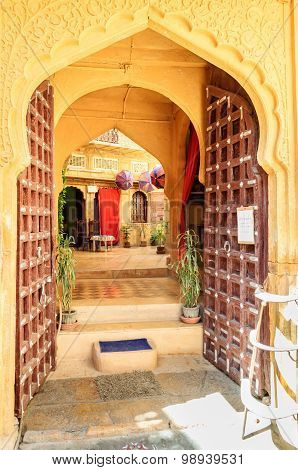 Open Doors And Arched Doorwayinside Golden Fort Of Jaisalmer, Ra