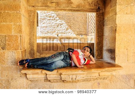 Young Tourist, Bengali Boy Resting Inside The Museum Of Golden F