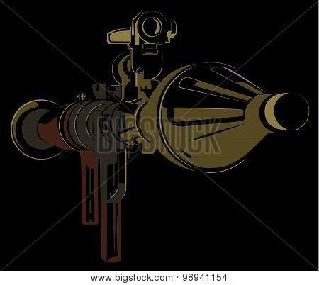 Anti-tank bazooka color rpg on black background
