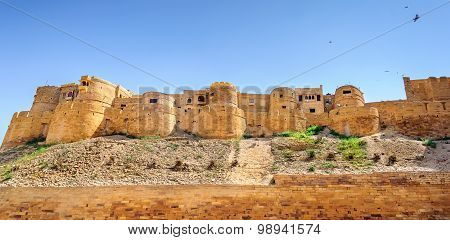 Panoramic View Of Golden Fort Of Jaisalmer, Rajasthan India