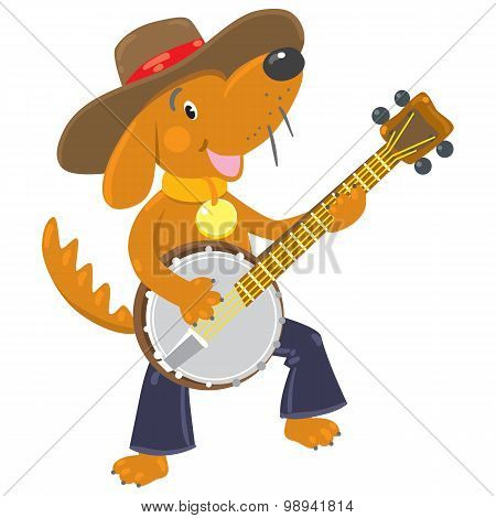 Funny brown dog plays the banjo