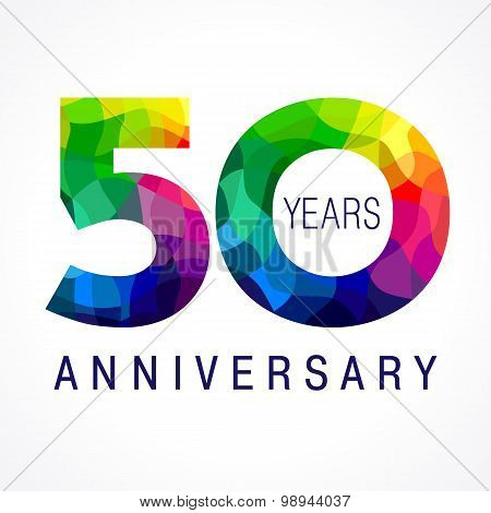 50 years old celebrating colored logo. Anniversary year of 50 th vector template numbers. Happy birthday greetings celebrates. Stained-glass digits of jubilee ages. Mosaic pattern figures in various colors. poster