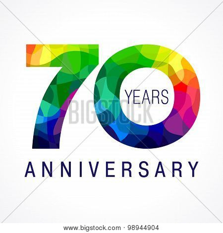 70 years old celebrating colored logo. Anniversary year of 70 th vector template numbers. Happy birthday greetings celebrates. Stained-glass digits of jubilee ages. Mosaic pattern figures in various colors.