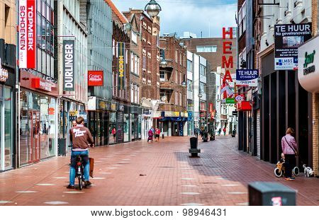 People Walking In The Eindhoven Main Commercial Street