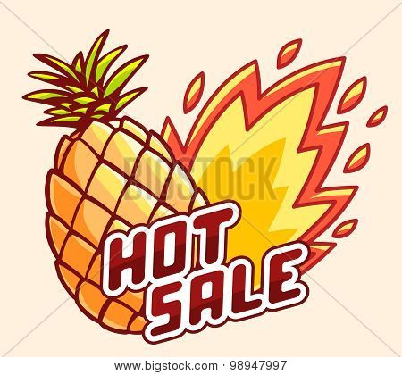 Vector Illustration Of Colorful Yellow Pineapple With Fire And Text Hot Sale On Light Background.