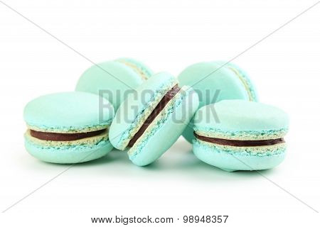 Fresh and Tasty macarons isolated on white poster
