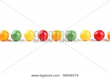 Colorful Chewing Gums On White Background