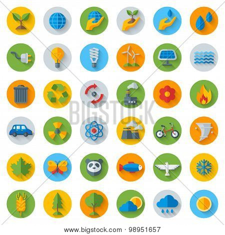 Ecology Flat Icons on Circles with Shadow. Set Isolated on White.