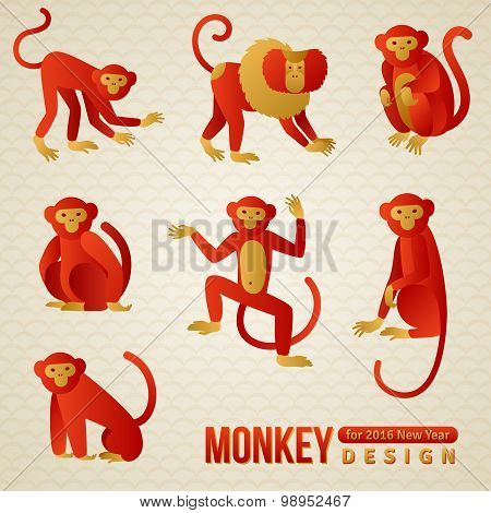 Set of Chinese Zodiac - Monkeys. 2016 New Year Symbol.