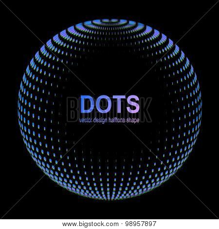 Abstract Halftone Background, sphere with chroma aberration effect. Vector illustration.