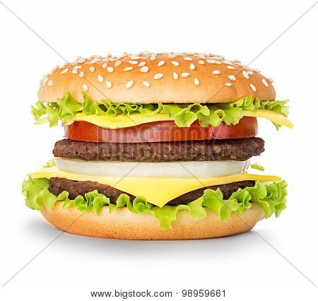 Royal hamburger close-up isolated on a white background poster