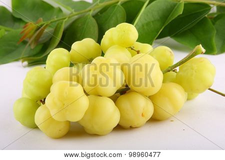Star gooseberry and leaves,