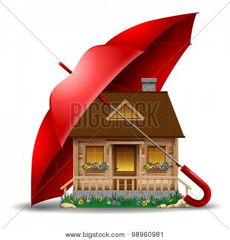 Beautiful wooden house under protect of the red umbrella. Concept safety of life and real estate. Vector illustration. Isolated on white background.