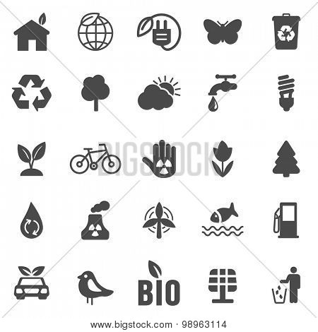 Eco black  icons set .Vector