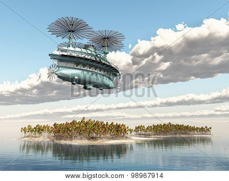 Fantasy airship over an ocean landscape