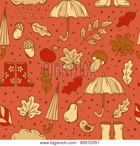 Autumn doodles pattern