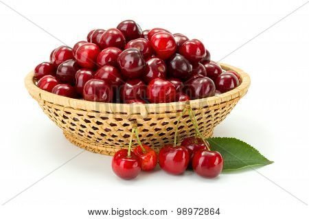 Sweet Cherry Berries (prunus Avium) In Wicker Plate