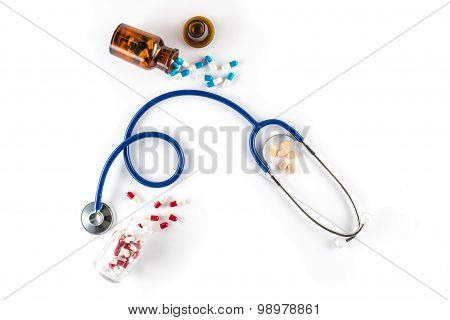 Capsule In Bottle With Stethoscope And Pill Cardiology