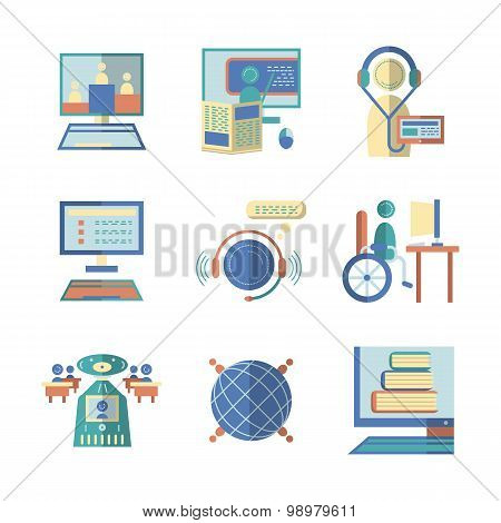 Flat color vector icons for e-education