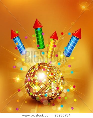 Vector festive background with glass disco ball and firecrackers
