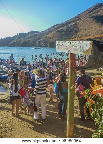 Crowded Beach In Taganga Colombia