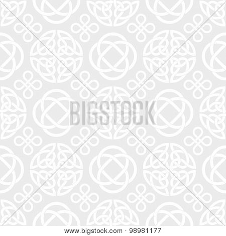 Celtic Knots Seamless wallpaper background. Vector pattern with celtic knot symbols, white on light grey
