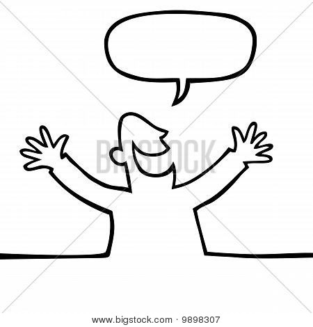 Black and white drawing of a happy person with open arms, shouting something. poster