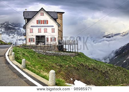 Furkapass With Furkablick Hotel, Switzerland.