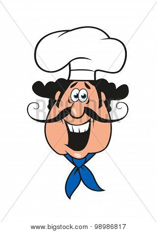Cartoon moustached italian chef in cook cap