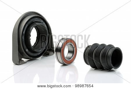 Set Of Bearing Of The Propeller Shaft Support Bearing And Shaft Seal. Studio.