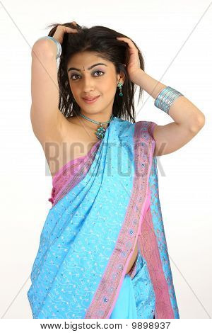 girl in pink sari with longhair